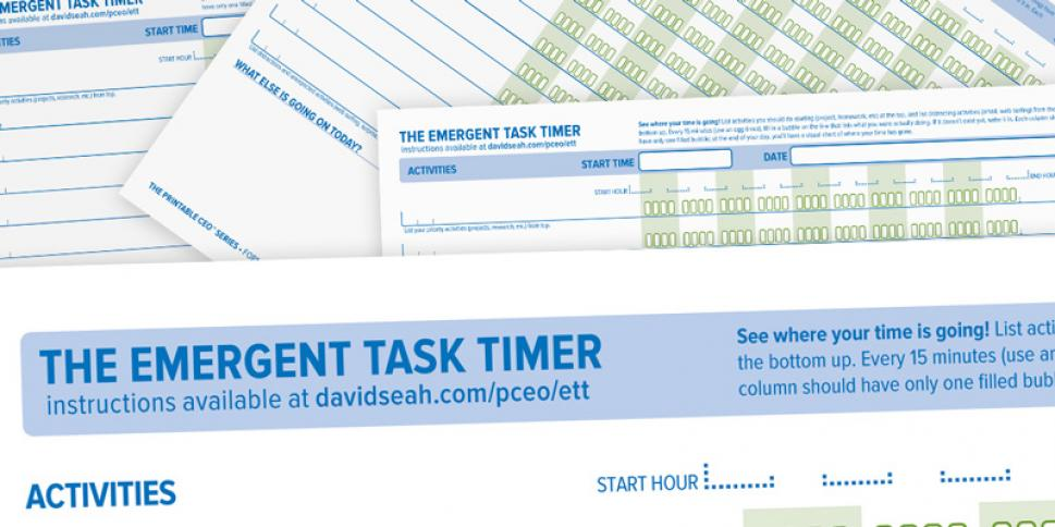 David Seah productivity printable - Emergent Task Timer